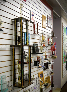 Trophies on Showroom Wall